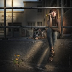 Dandelion (Mark Frost :)) Tags: dog spider dandelion concrete stone dirt grunge railing metal city backstreet alley shadows light sun woman girl female casual conceptual cg cgi render daz studio 3d model