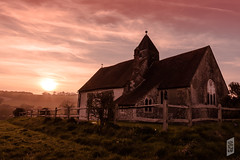South Downs Sunset (Corbicus Maximus) Tags: st huberts south downs sunset lightroom church idsworth finchdean hampshire fence spire grass sun nikon d7200 warm