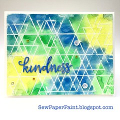SSS Abstract Triangles Blue Card Front (teamclark@rocketmail.com) Tags: simon says stamp abstract triangles watercolor embossing verve sequins card cardmaking thank you