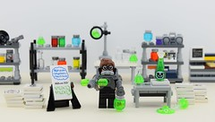 Silent but deadly⚗️ (Alex THELEGOFAN) Tags: lego legography minifigure minifigures minifig minifigurine minifigs minifigurines movie batman the robin laboratory lab shelf table toxic poison skull suit silent deadly but flask bottle multiphoton mathematical papers newpapers