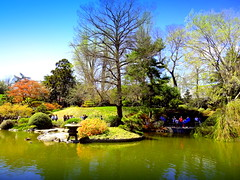 Japanese Pond and Garden (dimaruss34) Tags: newyork brooklyn dmitriyfomenko image sky clouds trees spring brooklynbotanicgarden flowers