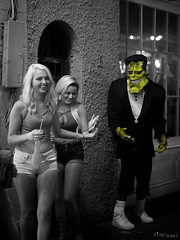 Some Guys - Just have No Luck! (SimplSam) Tags: neworleans panasoniclumixg7 street usa nightlife frankenstein monster girls leica nocticron women shorts spot colour blackandwhite vacation nola candid party p1350205