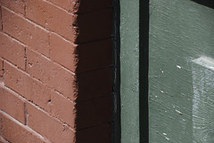 Red Brick Green Wood (undergroundoverdrive) Tags: wood red abstract color brick green colors photography photo study photograph omar complimentary rashan itten