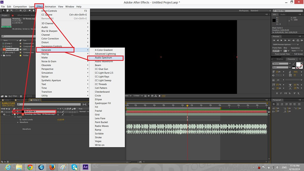 Tạo hiệu ứng kỹ xảo Audio Spectrum in Shape