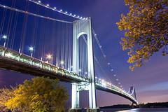 The Verazzano Bridge (Elyssa Walter) Tags: nyc newyorkcity longexposure nightphotography bridge blue sky newyork weather brooklyn night canon twilight long purple cloudy pastel t