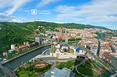 City of Bilbao from the 25th Floor (david gutierrez [ www.davidgutierrez.co.uk ]) Tags: city travel bridge blue sky mountains green tower art museum architecture modern clouds skyscraper puppy photography design spain arquitectura university footbridge library perspective aerialview gehry bilbao fisheye guggenheim euskadi koons bilbo basquecountry paisvasco iberdrola 25thfloor davidgutierrez isozakitowers nervionriver pentaxk5 cityofbilbao