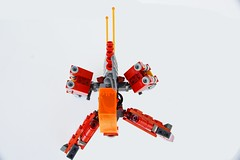 Quad-Hopper (M2com McKinney) Tags: red orange black four lego scifi hopper mecha mech minfig