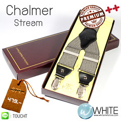 Chalmer Stream - สายเอี้ยม (Suspenders) สายสีครีม ซิกแซกแนวขวาง ดำ ครีม ขนาดสาย กว้าง 3.5 เซนติเมตร