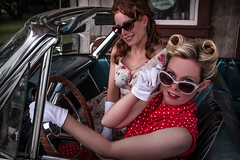 yes...officer? (Rodney Harvey) Tags: ladies portrait beauty sunglasses vintage redhead trouble louise flirting blonde speeding convertable thema onry