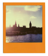 Westminster Evening (Cris Ward) Tags: sunset sky sun sunlight color colour slr london film westminster thames clouds analog vintage river polaroid sx70 evening daylight lomo lomography britain walk parliament bigben instant dreamy analogue impossible landcamera colorframe impossibleproject