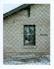 mona lisa in the alley (EllenJo) Tags: arizona building brick art window polaroid alley monalisa may smalltown fridaynight 2014 verdevalley clarkdale polaroidlandcamera may16 smalltownlife historictown clarkdalearizona 86324 ellenjo ellenjoroberts polaroidpathfinder