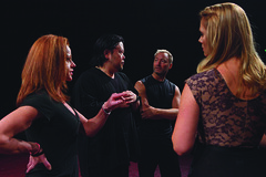 (L to R) Kathryn Mowat Murphy (Laura/Dance Captain), Stafford Arima (Dir.), Randy Slovacek (Choreo.) and Kate Levering (Cassie) during rehearsal for A Chorus Line, produced by Music Circus at the Wells Fargo Pavilion June 24 – 29, 2014. Photos by Charr Cr