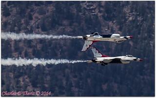 USAF Thunderbirds perform a Calypso Pass over the Class of 2014 USAF Academy Graduation