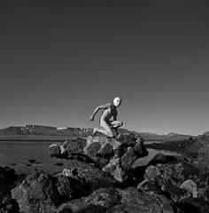 Disturbing nature ll (ingilee) Tags: ocean sea portrait sky blackandwhite bw selfportrait man nature rock canon naked nude island iceland mask surrealism sunny reykjavik esja disturbing surrealistic náttúra himinn haf fjall ingi 24105mm 5dmarkii ingiörnhafsteinsson ingilee
