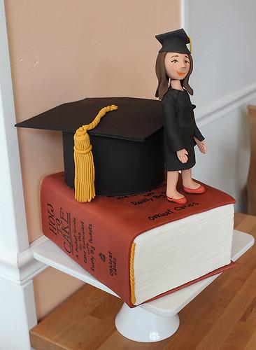 Graduation sculpted book cake
