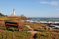 Pigeon Point Lighthouse | Pescadero, CA (Ping Timeout) Tags: ocean california park county ca city morning pink light sunset shadow sky terrain cliff usa sun lighthouse white plant west flower color colour building tower history nature sunshine weather rock bench point landscape drive hotel 1 bay coast monterey hostel sand chair flora highway afternoon view purple cross state pacific path pigeon united low guard masonry landmark scene historic resort clear holy route spanish aid historical coastline states climate navigation rugged active tallest 1871 moderate