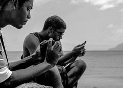 Concentration (DiluJ) Tags: camera shadow sea portrait sky people blackandwhite bw sun beach monochrome photography sony gear shades shooting manualfocus bnw sonynex samdt50mmf18