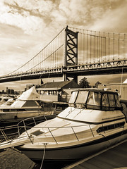 At the bridge (Jackpicks) Tags: philadelphia river dock delawareriver dockside benjaminfranklinbridge