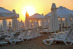 Side - Among the umbrellas at sunset (Romeodesign) Tags: sunset sun white holiday beach turkey sand mediterranean riviera side urlaub trkiye trkei umbrellas peninsula turkish deckchairs 550d pamphylian