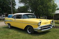 1957 Chevrolet Bel Air (DVS1mn) Tags: cars chevrolet hardtop yellow rat gm air bowtie chevy 1957 rod bel carshow 57 generalmotors ratrods 2door streetrods hazardwastecarclub