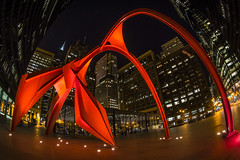 Flamingo in Chicago (olsonj) Tags: chicago night buildings nikon searstower flamingo alexandercalder seartower willistower alexandercalde