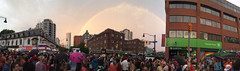Panorama taken from Church & Wellesley at World Pride Sunday. Complete with rainbow. (Sweet One) Tags: panorama toronto ontario canada rainbow pridetoronto churchwellesley worldpride