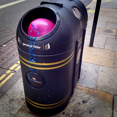 General Litter (Michael Goldrei (microsketch)) Tags: pink london june trash general baloon 14 balloon away can bin litter rubbish discarded dustbin thrown iphone 2014 iphonography