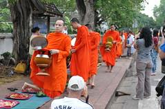 Another wave of monks comes by (oldandsolo) Tags: southeastasia earlymorning buddhism tourists lp laos luangprabang buddhistmonk laopdr makingmerit unescoworldheritagecity buddhistreligion takbat buddhistfaith morningalmsgivingritualluangprabang morningalmsgivinginluangprabang