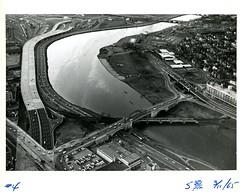 """Charles River #4"" (Cambridge Room at the Cambridge Public Library) Tags: blackandwhiteprintsphotographs aerialphotographs cambridgemass"