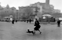 Running for shelter during an air raid alarm (Julieth Arévalo G) Tags: barcelona barcelone bombardement bombardment chien courir dog extérieur exterior femme25à45ans flou groupeparamilitaire guerredespagne outoffocus paramilitarygroup place running spanishcivilwar squaretownvillage typehumainblanc whitepeople woman25to45years