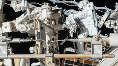 Hanging with Dextre (europeanspaceagency) Tags: humanspaceflight imageoftheweek spacewalk thomaspesquet eva dextre canadarm2 canadianspaceagency esa nasa internationalspacestation