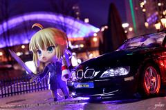 Officer Artoria (GaleXV) Tags: jfigure bfigure nendoroid goodsmilecompany the6ix toronto night nightlights buildings cars bmw roadster typemoon fategrandorder fatego fgo fatestaynight saber gilgamesh archer nikon d3100 toyphotography outdoor