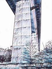The Bridge (Rollingstone1) Tags: bridge erskinebridge oldkilpatrick scotland civilengineering architecture structure saltings outdoor art tall trees avantgarde postmodernism modernprimitives