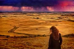 Restless heart (Anna Gorin) Tags: steptoebutte steptoebuttestatepark washington summer palouse hills girl woman redhead storm rainclouds sunset texturedeffect rollinglandscape farmland canon 5diii 50mm f14
