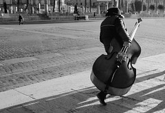 The harsh life of a bassist in Rome (caterina.begliorgio) Tags: bass music street streetlife life people portrait band rome roma italy italia travelling wandering earlymorning photography foriimperiali blackandwhite monoromo monocromatic shadows light lights sunlight hardlight longshadows persone ppl canon canonphotos europe traveller wander wanderer wanderlust travels walking