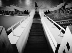 Downstairs (elgunto) Tags: barcelona museu art catalunya stairs symmetry wideangle blackwhite people museum sonya7