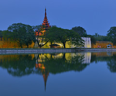 Mandalay Palace (Aubrey Stoll) Tags: moat water tower mandalay palace tourist reflection blue hour trees burma burmese myanmar historical religion budhism south east asia tropical wall