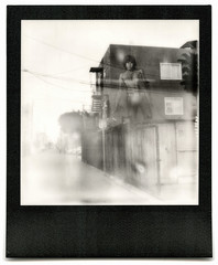 jim morrison's ghost. venice beach, ca. 2015. (eyetwist) Tags: eyetwistkevinballuff eyetwist venicebeach jimmorrison mural art ghost doors losangeles bw instant impossible venice classic vintage polaroid sx70 project impossibleproject gen 10 600 generation polaroidsx70 impossiblebwgen10bw blackframe modified landcamera emulsion film instantgratification analog analogue ishootfilm blackwhite monochrome streaks flaws spots black white los angeles angeleno doorsofperception lizardking speedway alley landmark famous poet musician singer band beach goop expired wires roidweek roidweek2017