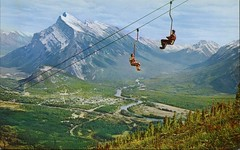 Chair Lift, Mount Norquay, Banff, Alberta (SwellMap) Tags: postcard vintage retro pc chrome 50s 60s sixties fifties roadside midcentury populuxe atomicage nostalgia americana advertising coldwar suburbia consumer babyboomer kitsch spaceage design style googie architecture