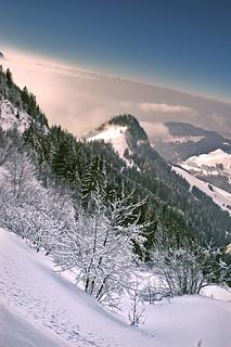 Swiss winter paradise, Paradis hivérnale suisse ,  Les Rochers de Nays . Canton of Vaud. No. 6093.