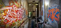 2016 Vs. 2012 (blairniemichelle) Tags: art aerosol ambiance atg abandonee abandone abstrait entrepot explore explorer entrée entrance edge 3d entremêlé rouille reflet red rouge tag tags terrain tracedirect yellow urbex underground mur lumière idf industrial paint panoramique paris decay detail degrade dégradé feu ferree graff graffiti light chrome jaune metal moisissure weis wall warehouse exterior canz blue bleu orange