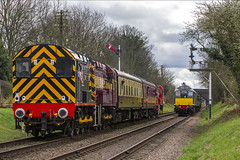 Five Diesels (Kev Gregory) Tags: five diesels space few yards great central railway during their spring diesel gala 18th march 2017 support services rss class 08 no 08480 ews liveried 08694 bring up rear 1145 loughborough quorn woodhouse shunter shuttle headed by db schenker 08907 resident 08528 d3690 on other line 25 d5185 is checked signal waiting with 2b10 1115 leicester north working kev gregory sigma 50500 50 500 zoom telephoto bigma british rail gcr heritage preserved