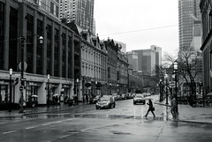 Crossing in the Rain at Front and Church (Bill Smith1) Tags: believeinfilm billsmithsphotography hc110b heyfsc ilfordhp5 md50f17lens minoltax570 toronto