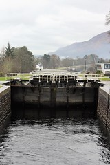 neptunes staircase fort william (anna n rob) Tags: scotland neptunesstaircase neptunes staircase caledoniancanal westcoast fortwilliam eightlocks longest lock britain banavie boats barge silhouettes colour canal tourists attraction trees