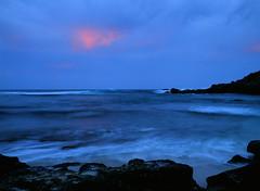 Ho'okipa beach at dusk (pabs35) Tags: hawaii maui film believeinfilm fuji fujifilm fujichrome mediumformat 120 velvia velvia50 mamiya m645 1000s mamiyam6451000s dusk hookipabeachpark pacific ocean afterglow waves
