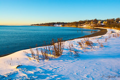 Beach (E. Aguedo) Tags: beach sand snow winter water warwick white sunrise blue ocean rocky point ngc new england