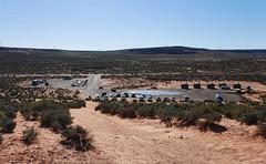 Horseshoe Bend (1 of 6): parking lot at 8:13 a.m.  20170405_7965 (listorama) Tags: usa arizona horseshoebend people