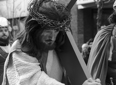 D7K_1837_epgs (Eric.Parker) Tags: easter 2016 goodfriday procession littleitaly stfrancis assisi church stfrancisofassisi college street jesus christ stationsofthecross christian christianity brassband toronto bw palm