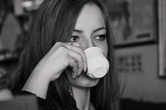Coffe and look (salaminijo) Tags: girl portreit portret people ser serbian belgrade beograd blackwhite monochrome eyes hands indoors caffe look canon ef28135mm markiii 1d crnobela lights lightsanddark shadows