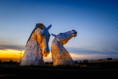 The Kelpies (Explored) (AdeRussell) Tags: scotland sunset travel wildlife horses falkirk art thekelpies sculptures sculpture